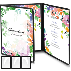 three panel menu, design, printing, thailand, koh samui, 3 page menus