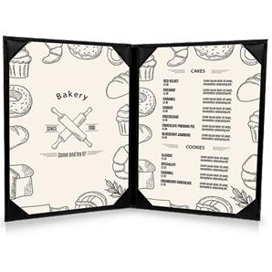 two panel menu, printing, graphic design, thailand, koh samui, 2 page menus