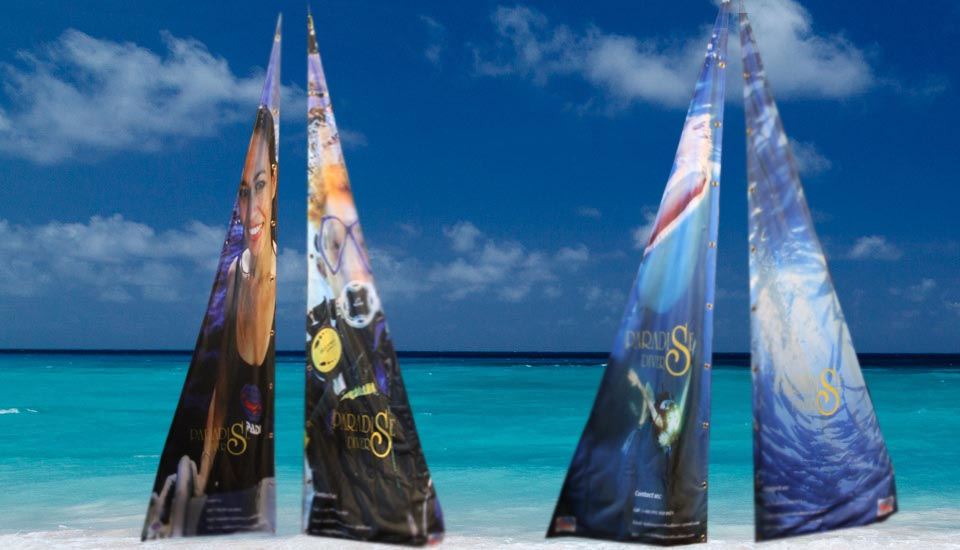Custom Bali Beach Flag, textile printing, Koh Tao paradise divers, Chameleon Production ko samui, thailand