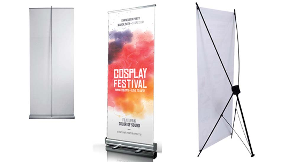 advertising stand roll up x-stand