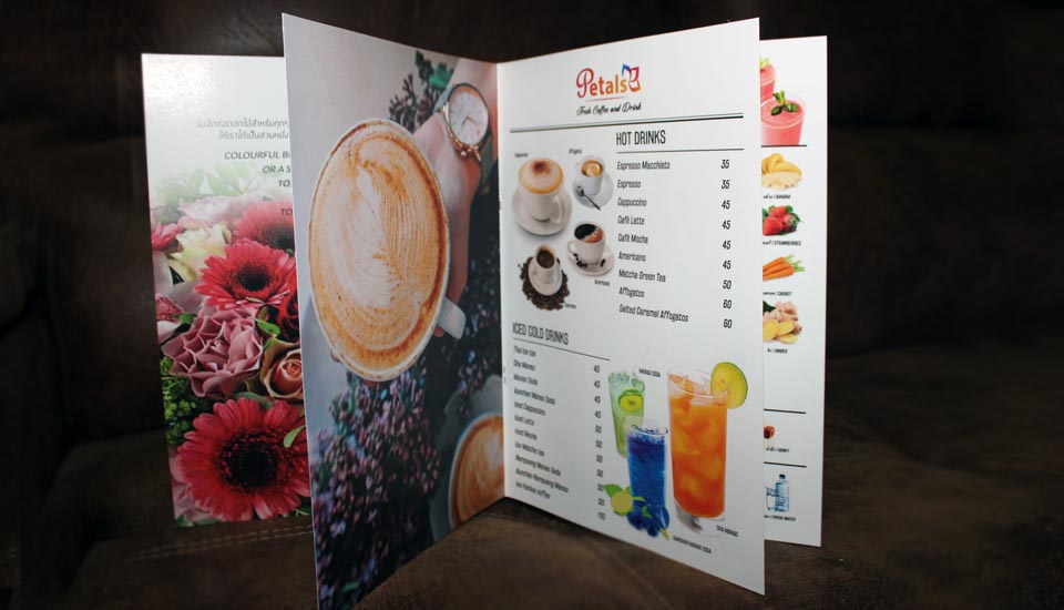 coffee shop menu design, printing, laminated, maenam, koh samui, thailand