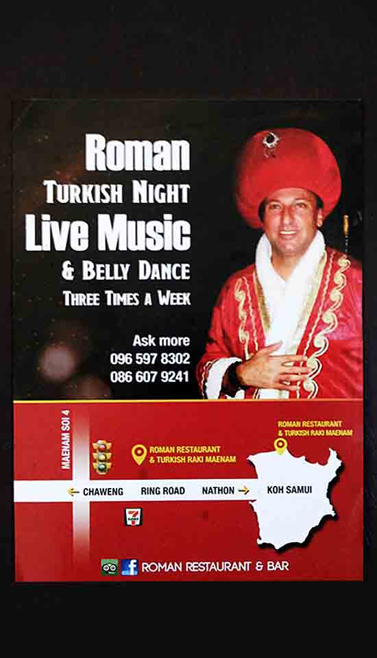 Restaurant flyer, Roman Turkish restaurant, meanam koh samui, Printing company Chameleon Production Taling Ngam