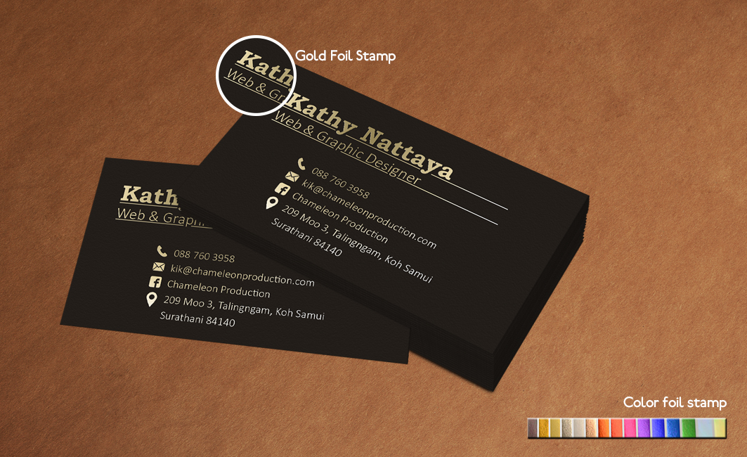 business card hot foil stamp calling card
