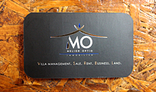 real estate business card with hot foil stamping, rounded corner cut, two sided matt printed black business card. Real estate company lamai beach koh samui