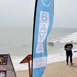 Baya beach restaurant in lamai beach make beautiful beach flags with heavy sand screw