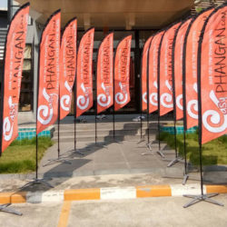 Beach flags office jard in Chameleon Production office Koh Samu, Thailand