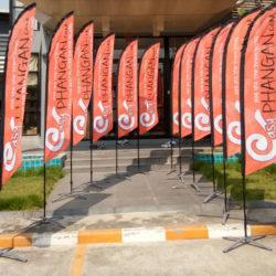 Beach flags office jard in Chameleon Production office Koh Samu, Thailand
