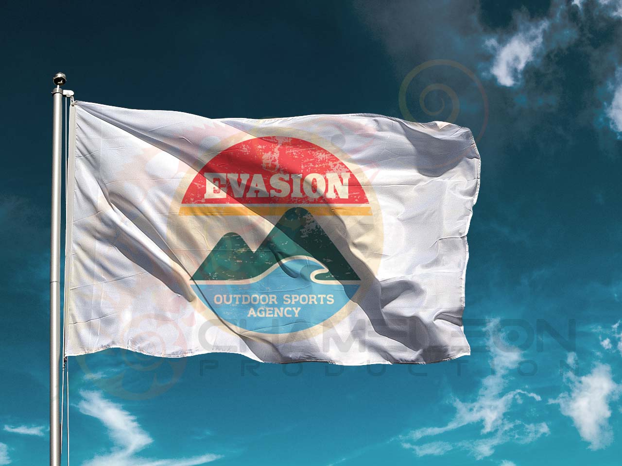 evasion koh tao 250 cm flag. Chameleon production make fabric printing