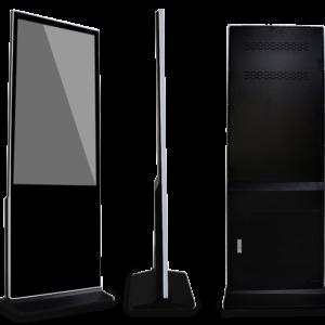 three black floor touch screen display. Slim interactive lcd