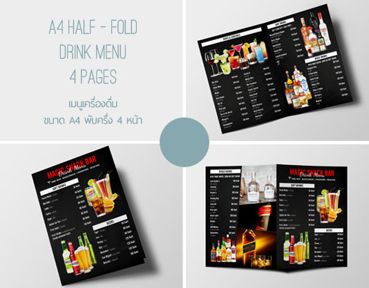 Graphic design drink menu set by Chameleon Graphic Design Production Koh Samui Thailand