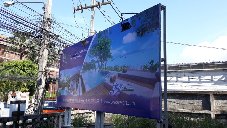 amazin effective blue color billboard in main street maenam city KOh Samui. For night time installed spot light