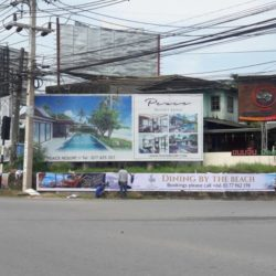 billboard vinyl installation fisherman village junction, koh samui