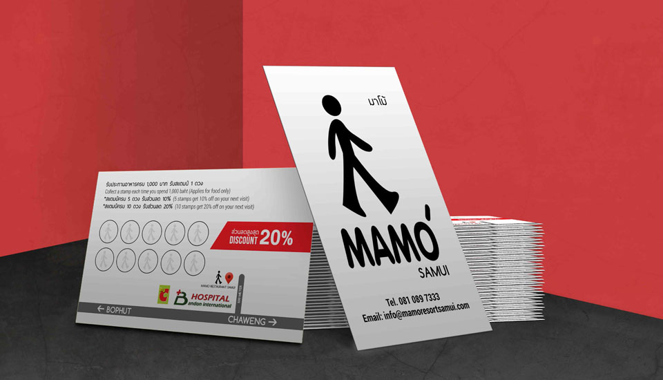 discount business card, Mamo hotel resort restaurant chaweng, koh samui, thailand
