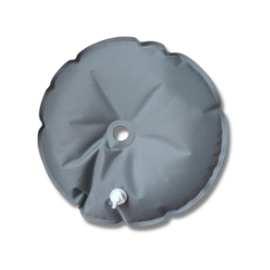 grey extra weight water bag for beach flag stands. center holes and filling valve