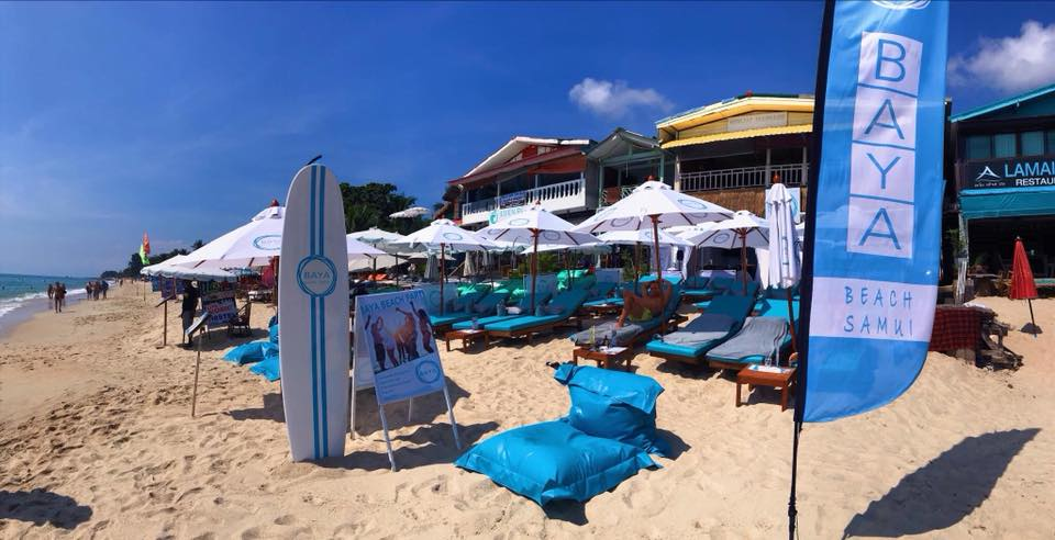 beach flag products in Lamai beach, koh samui, thailand