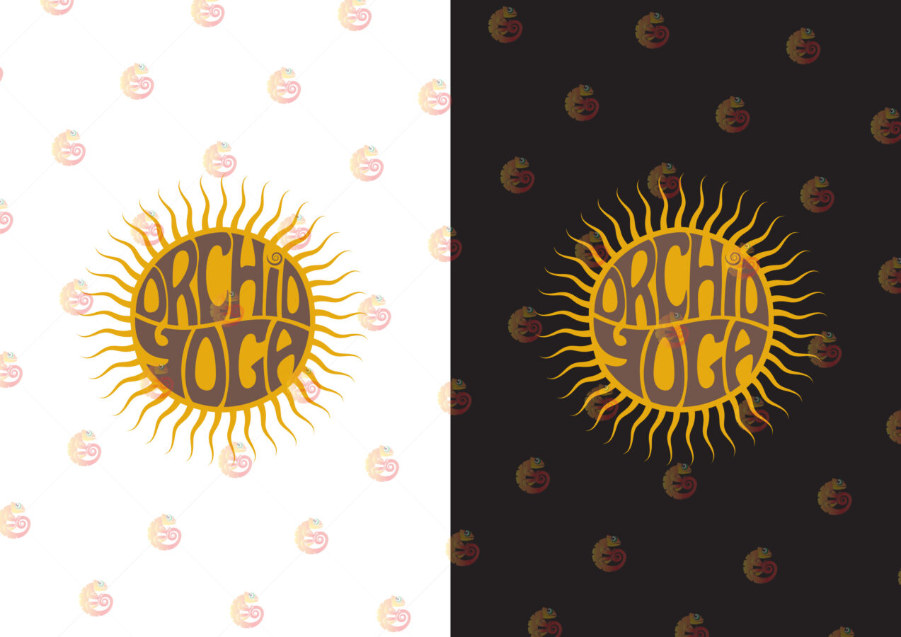 logo design orchid yoga. Sun sunshine logo design
