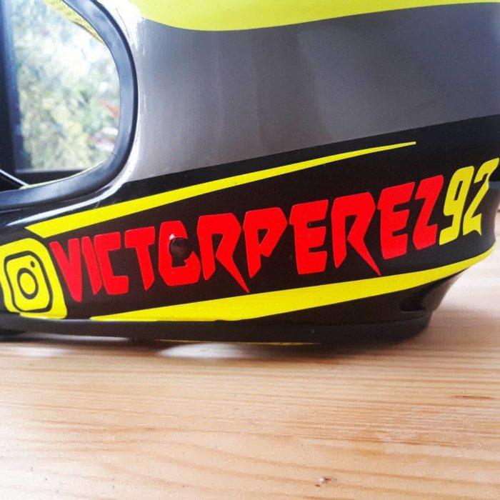 instagram user name sticker in helmet