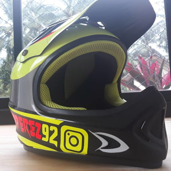 sticker printing with custom style. Front view helmet