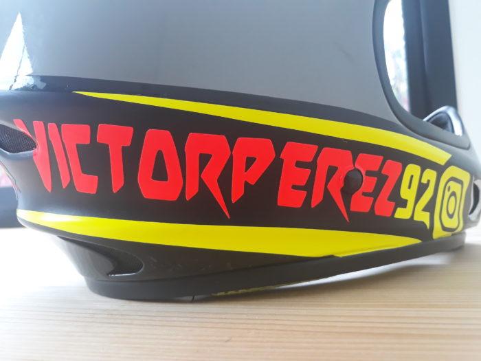 machine cut custom helmet sticker red and yellow