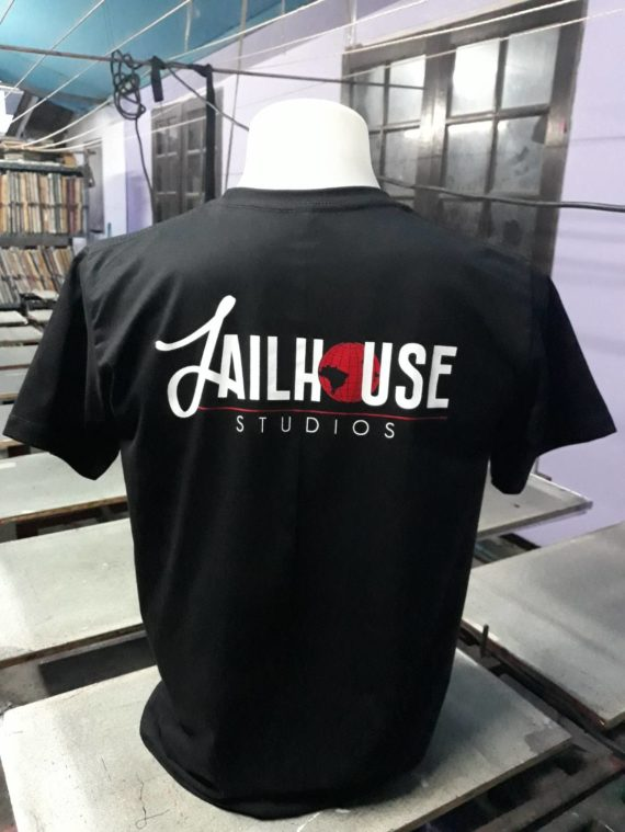back sided printed silk screen logo on black t-shirt