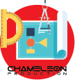 Printing services icon with chameleon production content
