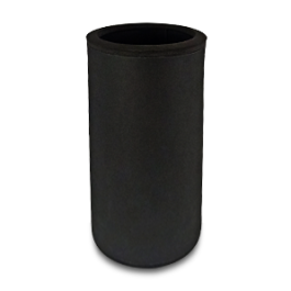 Full Black neoprene bottle cooler with black edge and blank surface without printing