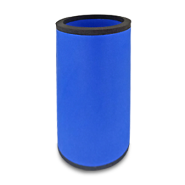 Blue neoprene bottle cooler with black edge and blank surface without printing