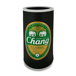 Change Bottle and Can cooler. White edge, black surface with green chang brand logo