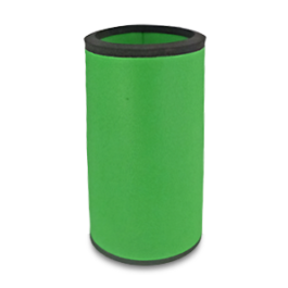 Green neoprene bottle cooler with black edge and blank surface without printing