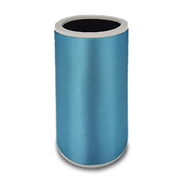 turquoise neoprene bottle cooler with black edge and blank surface without printing