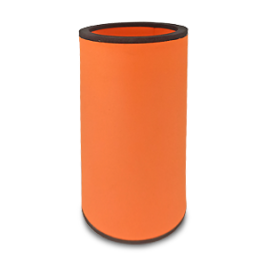 Orange neoprene bottle cooler with black edge and blank surface without printing