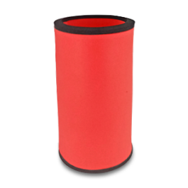 Red neoprene bottle cooler with black edge and blank surface without printing