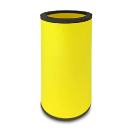 yellow neoprene bottle cooler with black edge and blank surface without printing