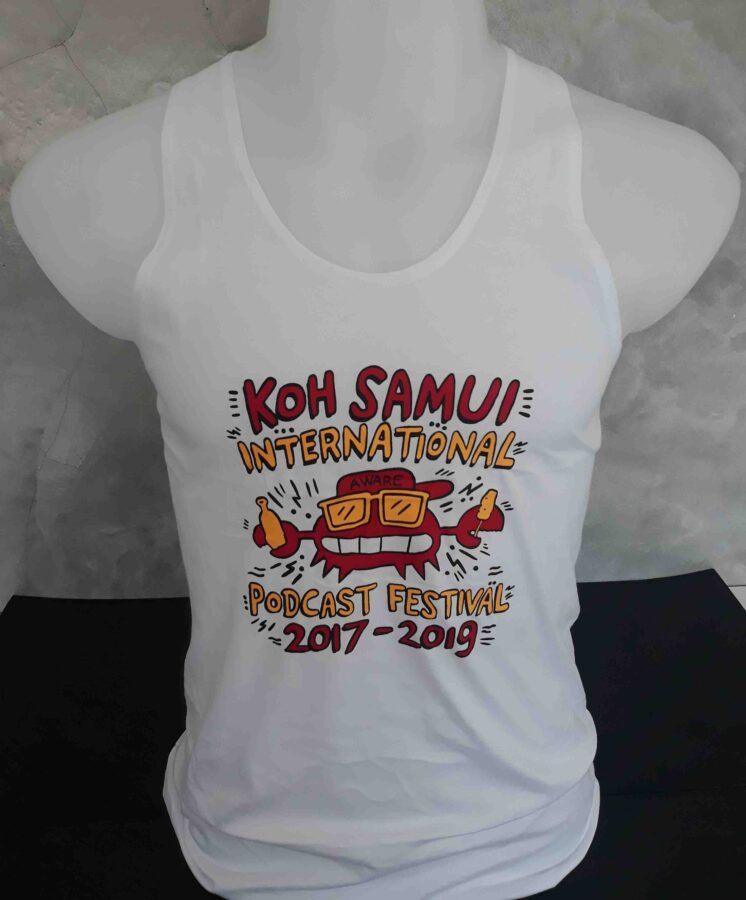 Koh Samui International Podcast Festival tank top with silkscreen printing
