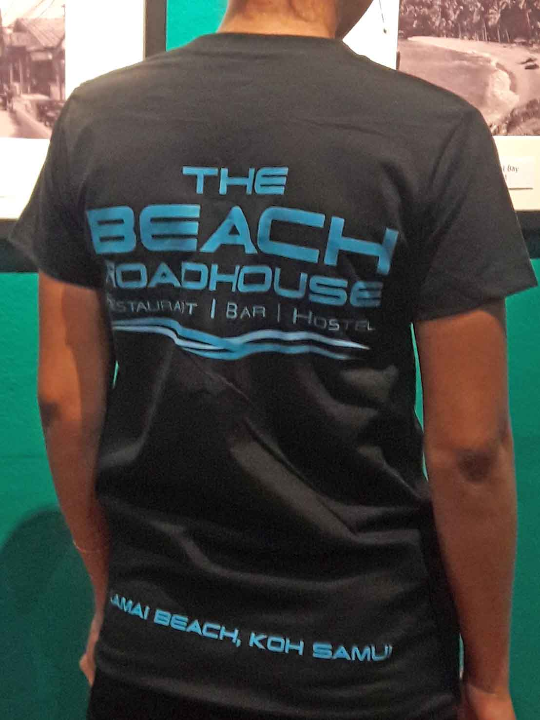 Beach road house t-shirt back side silkscreen print art