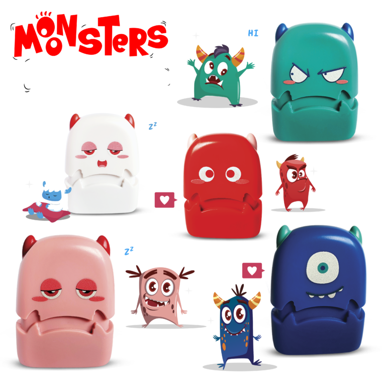 monster rubber stamps collection characters stand with monster mascots