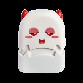 depressed looking white custom flash stamp yawns
