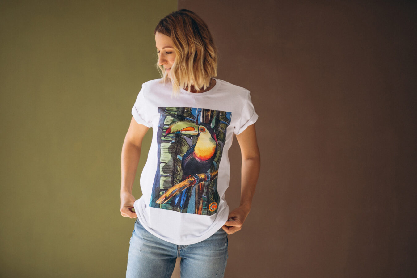 Lady waering custom printed cotton com t-shirt which she has bought online in Thailand