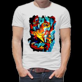 White t-shirt with print Nikkiline art design Lady Cat Fish