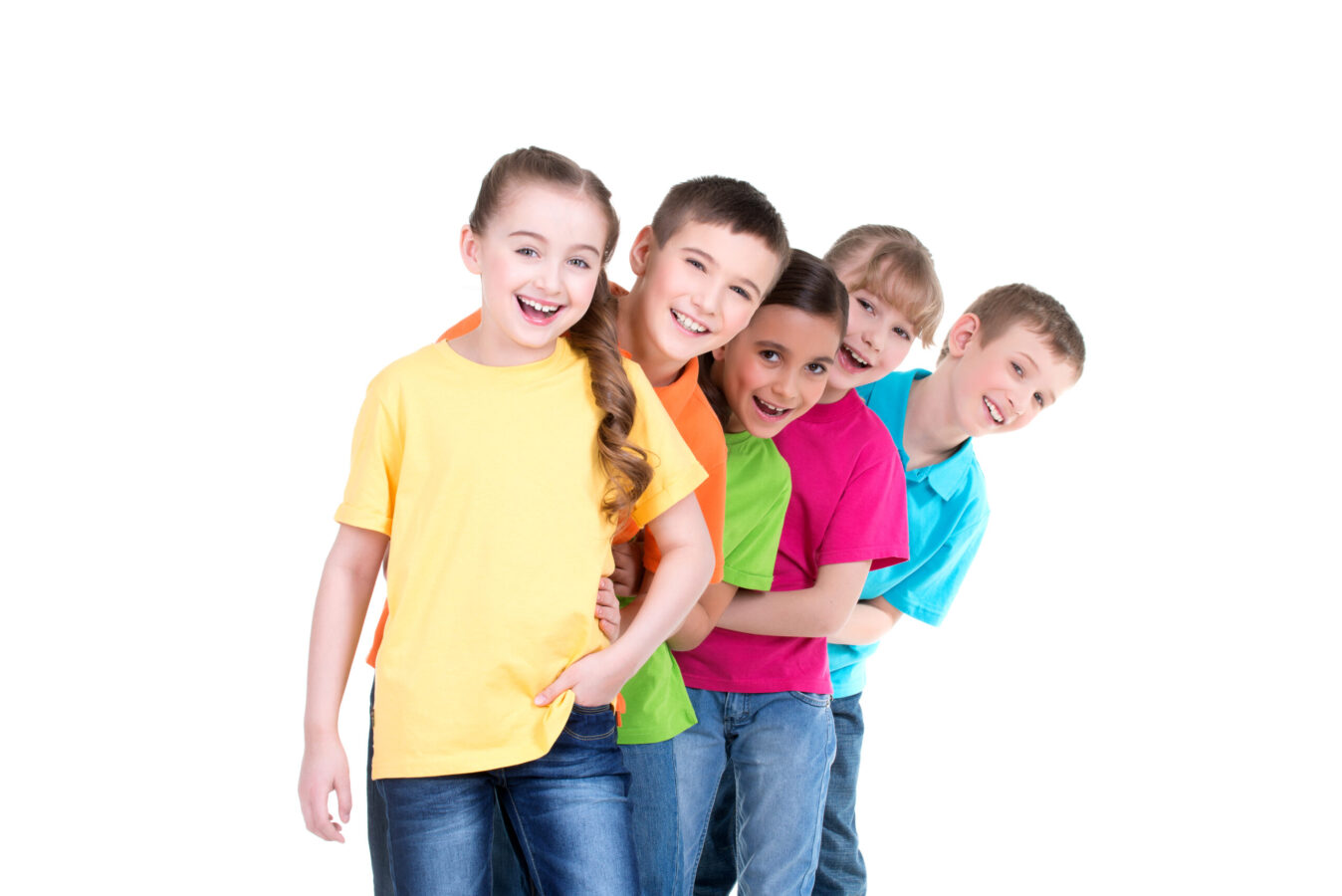 children in colorful t-shirts stand behind each other on white background.